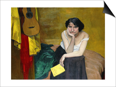 Woman and Guitar; Femme et Guitare, 1913 Posters by Félix Vallotton