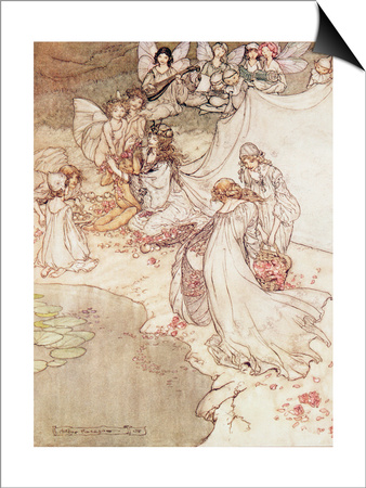 Illustration for a Fairy Tale, Fairy Queen Covering a Child with Blossom Art by Arthur Rackham