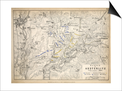 Map of the Battle of Austerlitz, Published by William Blackwood and Sons, Edinburgh and London, Print by Alexander Keith Johnston