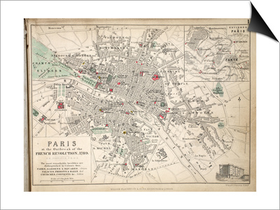 Map of Paris at the Outbreak of the French Revolution, 1789, Published by William Blackwood and Art by Alexander Keith Johnston