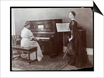 Women Playing a Player Piano and a Violin, New York, 1907 Prints by  Byron Company