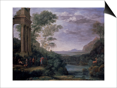 Landscape with Ascanius Shooting the Stag of Sylvia, 17th Century Prints by Claude Lorrain