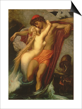 The Fisherman and the Syren: from a Ballad by Goethe, 1857 Print by Frederick Leighton