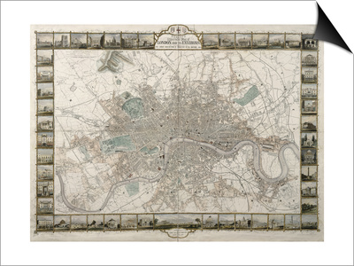 Tallis's Illustrated Plan of London and it's Environs, in Commemoration of the Great Exhibition… Poster