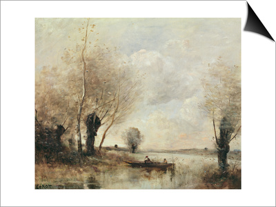 Fishermen Moored at a Bank Poster by Jean-Baptiste-Camille Corot
