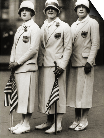 Aileen Riggin, Gertrude Ederle, Helen Wainwright, Three American Olympic Swimming Champions, 1924 Print by  American Photographer