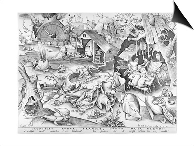Sloth, from the Seven Deadly Sins, Engraved by Pieter Ven Der Heyden, 1558 Prints by Pieter Bruegel the Elder