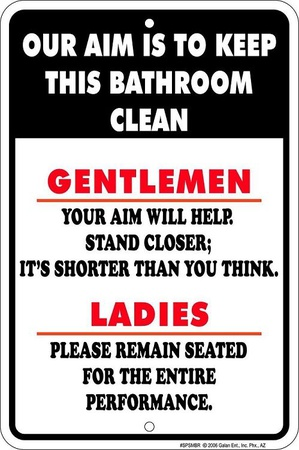 Gentlemen Aim Tin Sign
