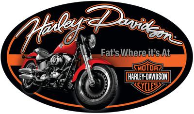 Harley Davidson Fat Boy Oval Sign Tin Sign