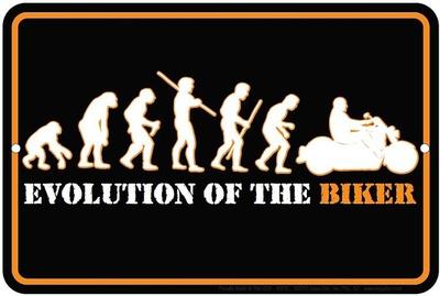 Evolution Of The Biker Tin Sign