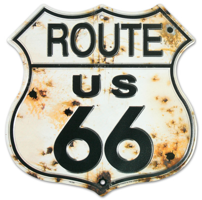 Rt. 66 Bullet Holes Tin Sign