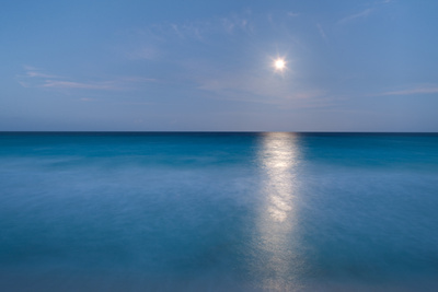 Long Exposure of Ocean and Moon Photographic Print by Edgardo Contreras