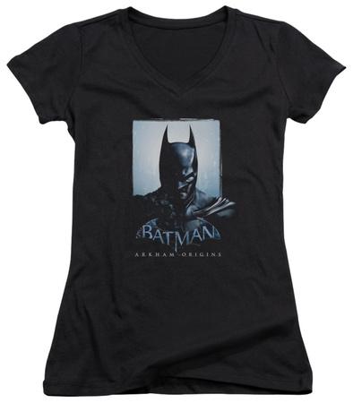 Juniors: Batman Arkham Origins - Two Sides V-Neck Womens V-Necks