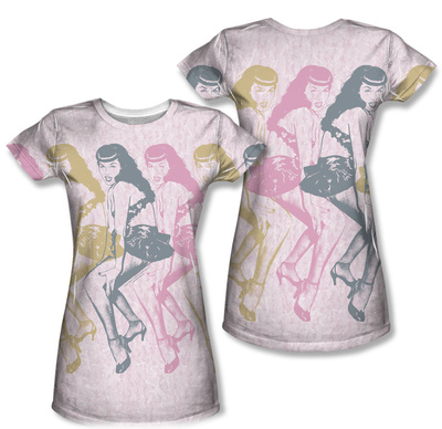 Juniors: Bettie Page - Multiples (Front/Back Print) T-Shirt