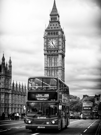 London Red Bus and Big Ben - London - UK - England - United Kingdom - Europe Photographic Print by Philippe Hugonnard