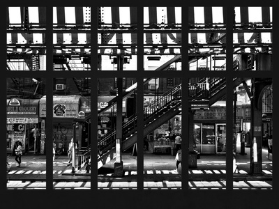 Window View - Urban Street Scene - Marcy Avenue Subway Station - Williamsburg - Brooklyn - NYC Photographic Print by Philippe Hugonnard