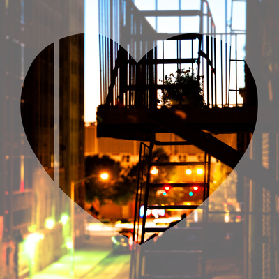 Love NY Series - NYC Fire Escape at Night - Manhattan - New York - USA Photographic Print by Philippe Hugonnard