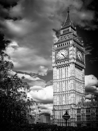 Big Ben - City of London - UK - England - United Kingdom - Europe - Black and White Photography Photographic Print by Philippe Hugonnard