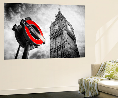 Wall Mural - Westminster Underground Sign - Subway Station Sign - Big Ben - City of London Wall Mural by Philippe Hugonnard