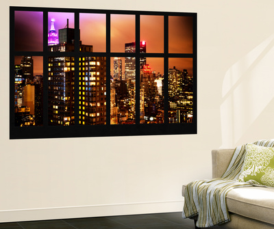 Wall Mural - Window View - Manhattan Skyscrapers at Night - New York Wall Mural by Philippe Hugonnard