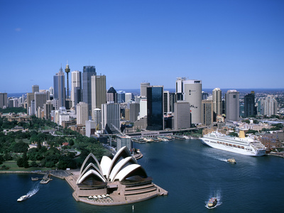 Australia Aerial of Sydney Opera House and Cruise Photographic Print