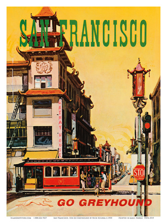 San Francisco, USA, Cathay House Restaurant, China Town, Go Greyhound Prints by Nick Sciurba