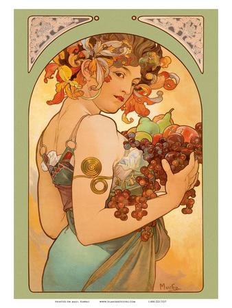Fruit, Art Nouveau, La Belle Époque Art by Alphonse Mucha