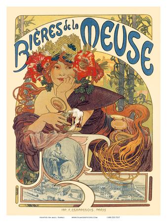 Bieres de La Meuse, Art Nouveau, La Belle Époque Prints by Alphonse Mucha