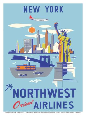 New York, USA, Manhattan, Fly Northwest Orient Airlines Print
