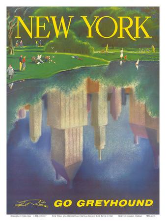New York, USA, Central Park, New York City, Go Greyhound Print by Rod Ruth