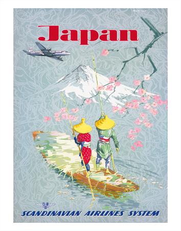 Japan, Cherry Tree Blossoms, Mount Fuji, SAS Scandinavian Airlines System Giclee Print by  Netzler