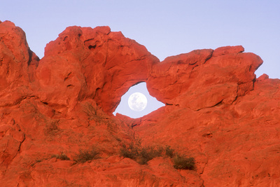 Kissing Camels Formation with Full Moon in Arch in Garden of the Gods Park in Colorado Springs Colo Photographic Print by Russell Burden