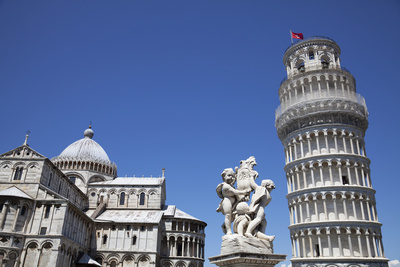 Leaning Tower of Pisa, Duomo and Statue Photographic Print by Martin Child
