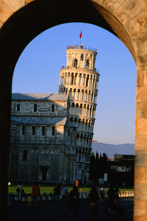 Leaning Tower Framed by Arch, Pisa, Tuscany, Italy, Europe Photographic Print by John Elk III