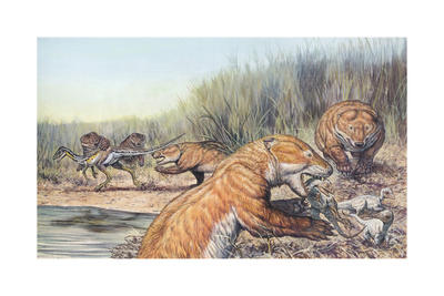 Repenomamus Mammals Hunting for Prey Art