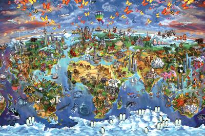 Maria Rabinky World Wonders map Prints by Maria Rabinky
