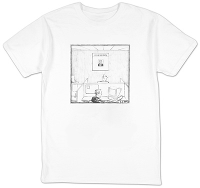 Office with poster on the wall for 'C.E.O. Of The Month.' - New Yorker Cartoon T-Shirt by Matthew Diffee