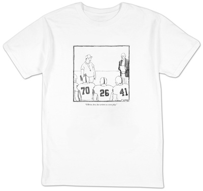 O'Brien, here, has written us a new play. - New Yorker Cartoon T-shirts by Matthew Diffee
