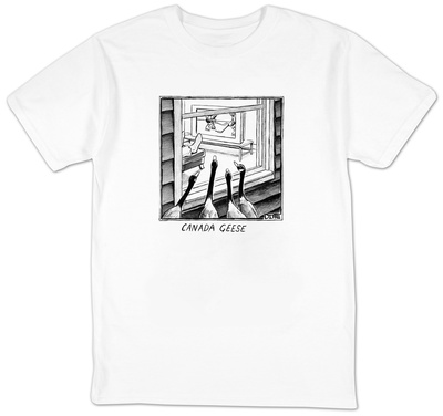 Geese watching hockey from a window.  - New Yorker Cartoon T-Shirt by Matthew Diffee