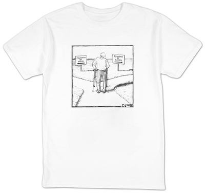 An elderly man is seen standing next to two arrow signs pointing in opposi - New Yorker Cartoon T-shirts by Matthew Diffee