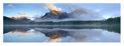 Panoramic view of Mt Kidd as seen from Wedge Pond, Alberta, Canada Art by Tim Fitzharris