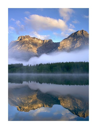 Morning light on Mt Kidd as seen from Wedge Pond, Alberta, Canada Print by Tim Fitzharris