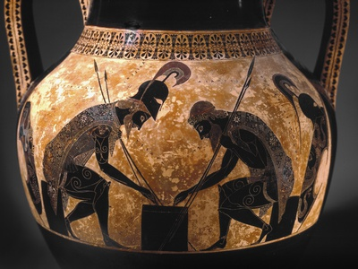 Detail of Etruscan Vase Depicting Achilles and Ajax Playing Dice Photographic Print