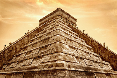 Tourists Climb the Pyramid of Kukulcan Photographic Print by Thom Lang