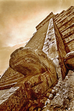 Serpent Head and Long Stairway on Pyramid of Kukulcan Photographic Print by Thom Lang