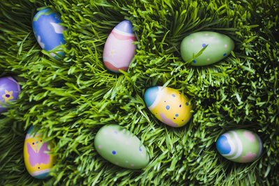 Easter Eggs on Grass Photographic Print by Tim Pannell