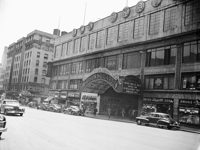 Madison Square Garden with Automobiles on Street Photographic Print