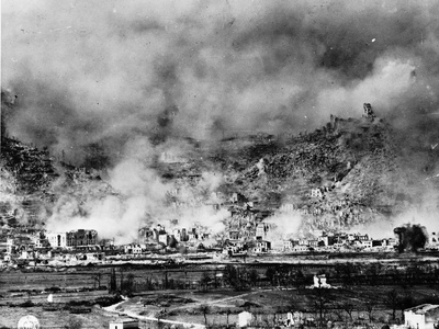 Allied Bombing on German Controled Town Photographic Print