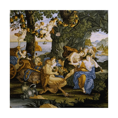 Bacchus and Ariadne, Decorative Detail from Storied Tile Giclee Print by Carmine Gentile