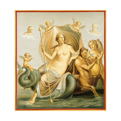 Reproduction of a Fresco Depicting Galatea, from the Houses and Monuments of Pompeii Giclee Print by Fausto and Felice Niccolini